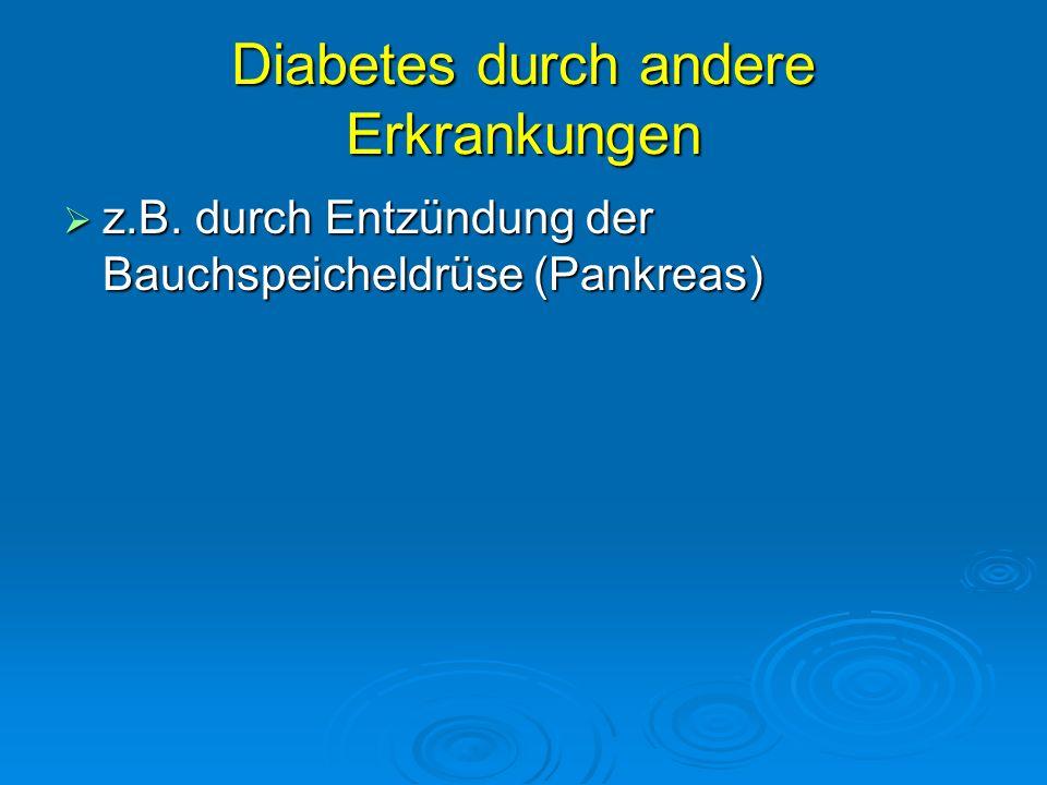 Diabetes durch andere Erkrankungen z.B. durch Entzündung der Bauchspeicheldrüse (Pankreas) z.B. durch Entzündung der Bauchspeicheldrüse (Pankreas)