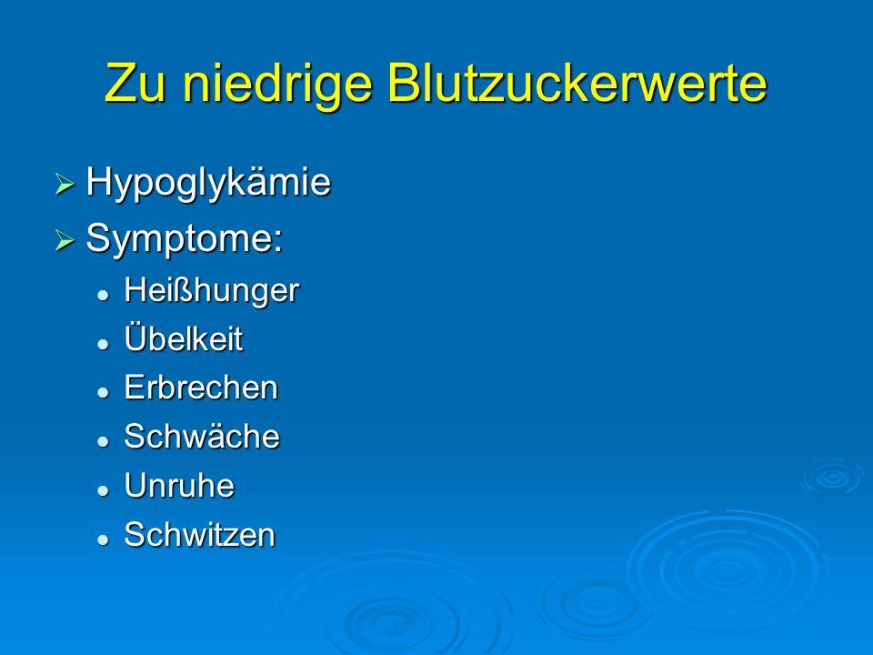 Zu niedrige Blutzuckerwerte Hypoglykämie Hypoglykämie Symptome: Symptome: Heißhunger Heißhunger Übelkeit Übelkeit Erbrechen Erbrechen Schwäche Schwäch