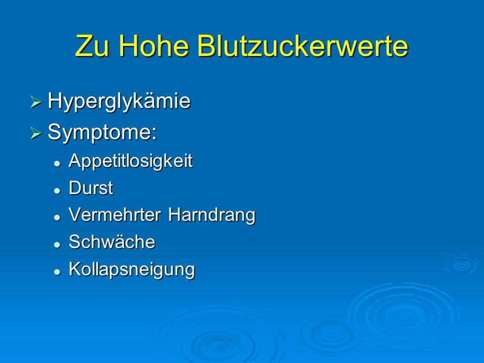 Zu Hohe Blutzuckerwerte Hyperglykämie Hyperglykämie Symptome: Symptome: Appetitlosigkeit Appetitlosigkeit Durst Durst Vermehrter Harndrang Vermehrter