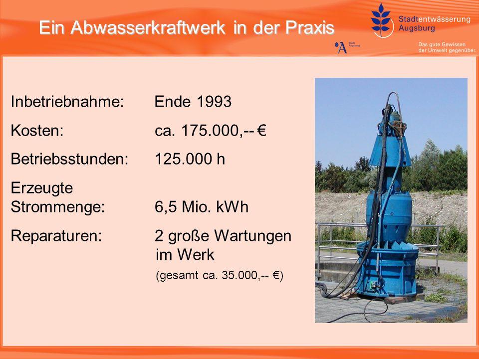 Ein Abwasserkraftwerk in der Praxis Inbetriebnahme:Ende 1993 Kosten: ca.
