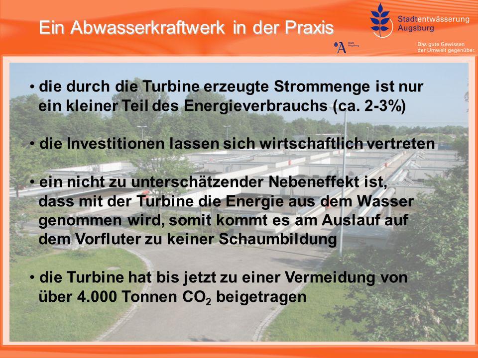 Ein Abwasserkraftwerk in der Praxis die durch die Turbine erzeugte Strommenge ist nur ein kleiner Teil des Energieverbrauchs (ca.