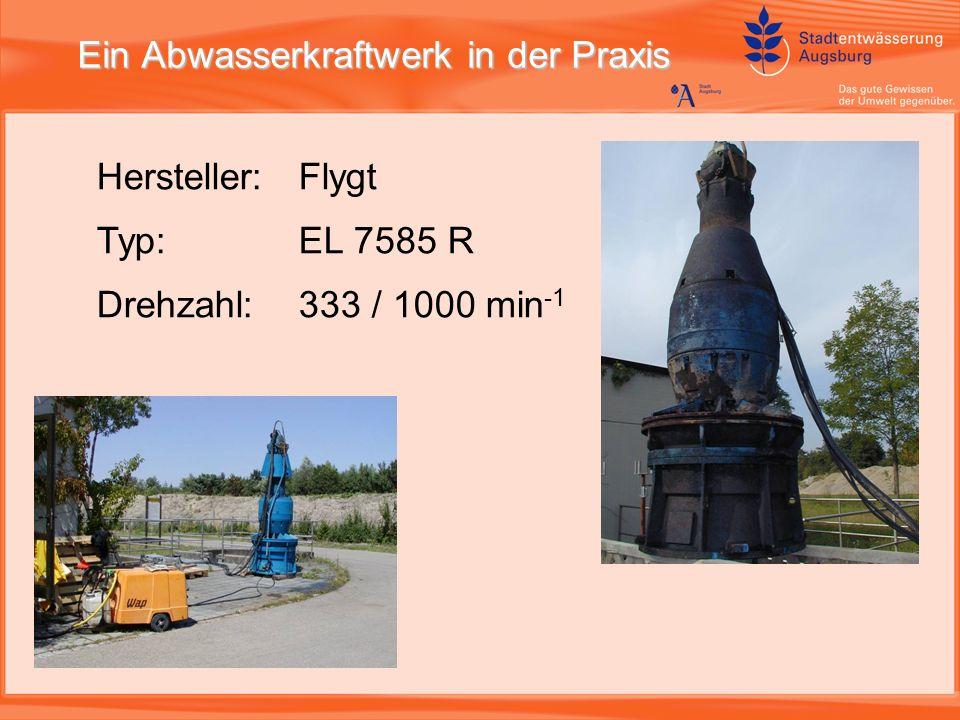 Ein Abwasserkraftwerk in der Praxis Hersteller: Flygt Typ: EL 7585 R Drehzahl: 333 / 1000 min -1