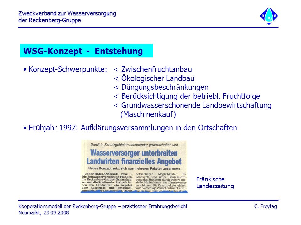 Zweckverband zur Wasserversorgung der Reckenberg-Gruppe Kooperationsmodell der Reckenberg-Gruppe – praktischer Erfahrungsbericht C.