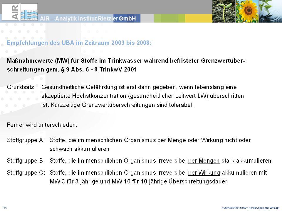 V:/Rietzler/AIR/TrinkwV_Aenderungen_Mai_2009.ppt AIR – Analytik Institut Rietzler GmbH 16