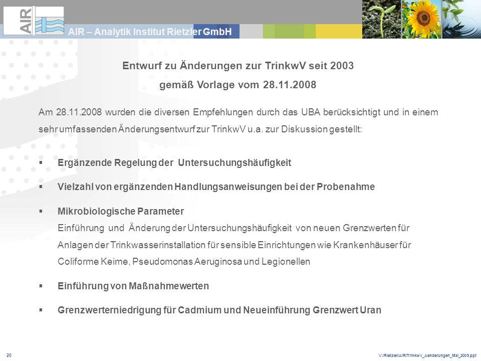V:/Rietzler/AIR/TrinkwV_Aenderungen_Mai_2009.ppt AIR – Analytik Institut Rietzler GmbH 20 Entwurf zu Änderungen zur TrinkwV seit 2003 gemäß Vorlage vo