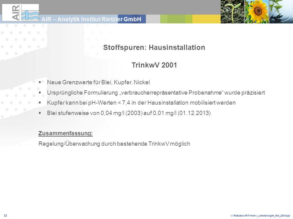 V:/Rietzler/AIR/TrinkwV_Aenderungen_Mai_2009.ppt AIR – Analytik Institut Rietzler GmbH 22 Stoffspuren: Hausinstallation TrinkwV 2001 Neue Grenzwerte f
