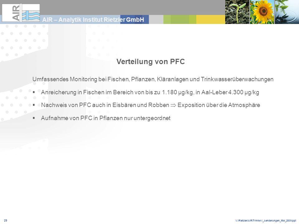 V:/Rietzler/AIR/TrinkwV_Aenderungen_Mai_2009.ppt AIR – Analytik Institut Rietzler GmbH 29 Verteilung von PFC Umfassendes Monitoring bei Fischen, Pflan
