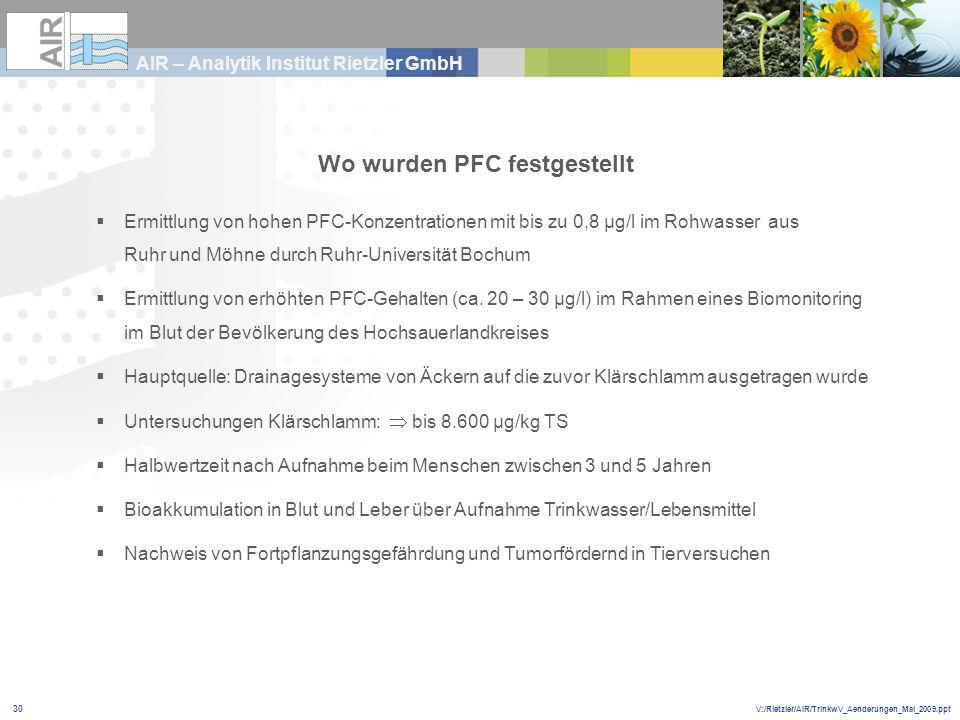 V:/Rietzler/AIR/TrinkwV_Aenderungen_Mai_2009.ppt AIR – Analytik Institut Rietzler GmbH 30 Wo wurden PFC festgestellt Ermittlung von hohen PFC-Konzentr