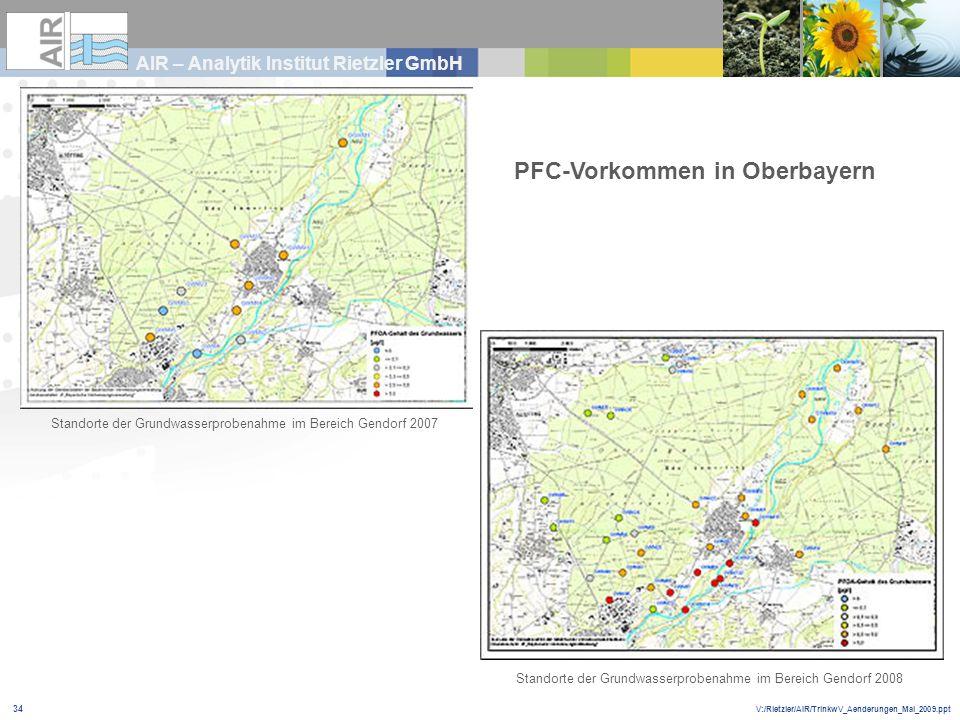 V:/Rietzler/AIR/TrinkwV_Aenderungen_Mai_2009.ppt AIR – Analytik Institut Rietzler GmbH 34 PFC-Vorkommen in Oberbayern Standorte der Grundwasserprobena