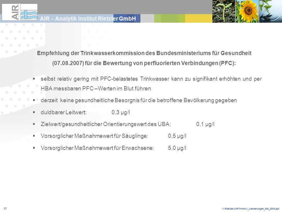 V:/Rietzler/AIR/TrinkwV_Aenderungen_Mai_2009.ppt AIR – Analytik Institut Rietzler GmbH 37 Empfehlung der Trinkwasserkommission des Bundesministeriums
