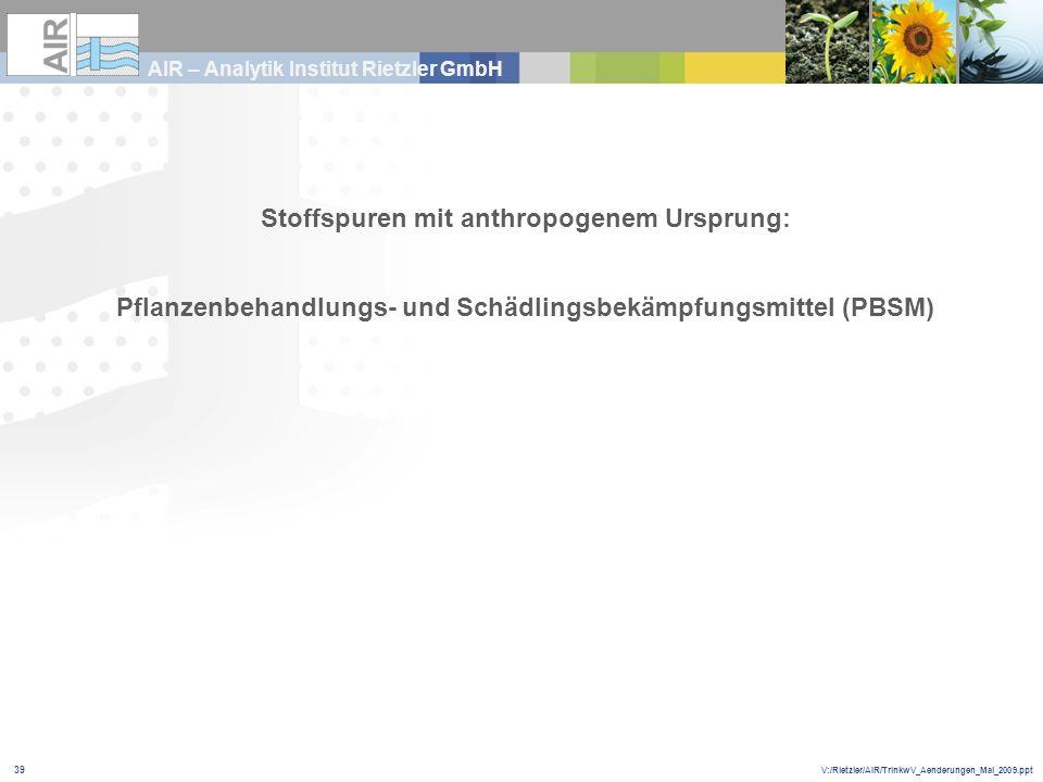 V:/Rietzler/AIR/TrinkwV_Aenderungen_Mai_2009.ppt AIR – Analytik Institut Rietzler GmbH 39 Stoffspuren mit anthropogenem Ursprung: Pflanzenbehandlungs-