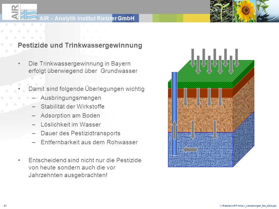 V:/Rietzler/AIR/TrinkwV_Aenderungen_Mai_2009.ppt AIR – Analytik Institut Rietzler GmbH 41 Die Trinkwassergewinnung in Bayern erfolgt überwiegend über