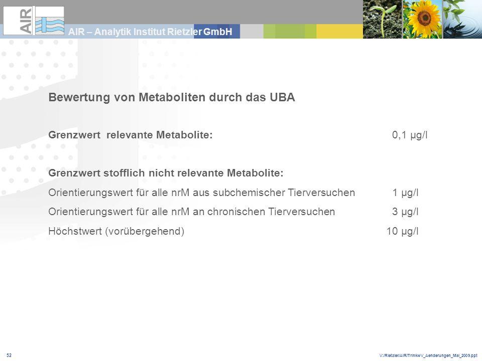 V:/Rietzler/AIR/TrinkwV_Aenderungen_Mai_2009.ppt AIR – Analytik Institut Rietzler GmbH 52 Bewertung von Metaboliten durch das UBA Grenzwert relevante