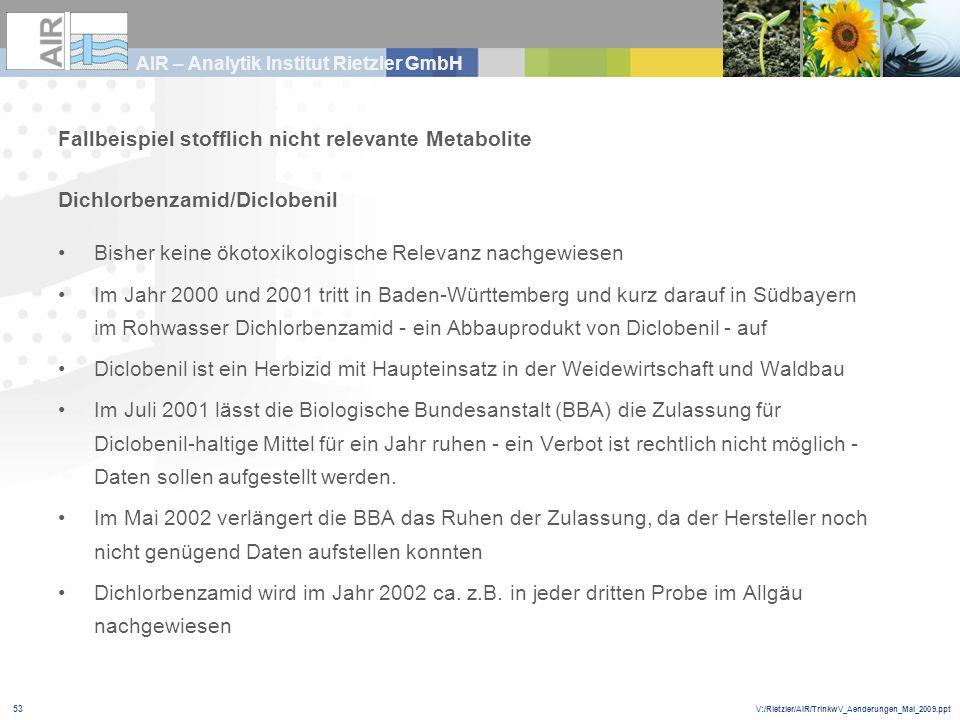 V:/Rietzler/AIR/TrinkwV_Aenderungen_Mai_2009.ppt AIR – Analytik Institut Rietzler GmbH 53 Fallbeispiel stofflich nicht relevante Metabolite Dichlorben