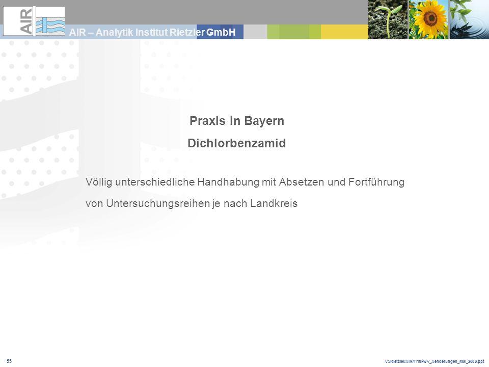 V:/Rietzler/AIR/TrinkwV_Aenderungen_Mai_2009.ppt AIR – Analytik Institut Rietzler GmbH 55 Praxis in Bayern Dichlorbenzamid Völlig unterschiedliche Han
