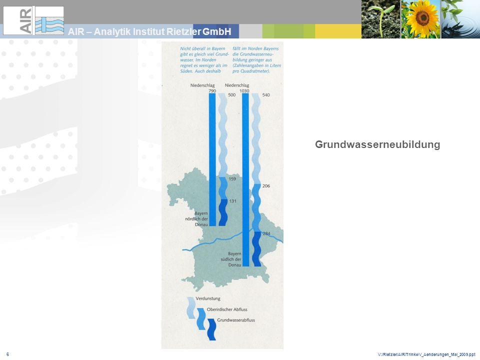 V:/Rietzler/AIR/TrinkwV_Aenderungen_Mai_2009.ppt AIR – Analytik Institut Rietzler GmbH 6 Grundwasserneubildung