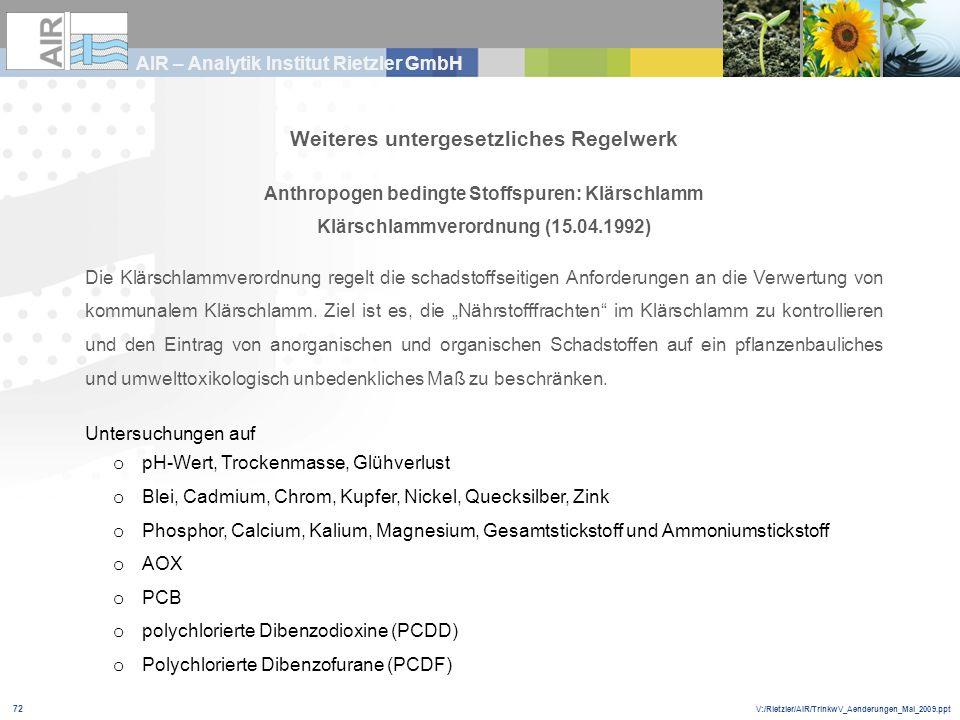 V:/Rietzler/AIR/TrinkwV_Aenderungen_Mai_2009.ppt AIR – Analytik Institut Rietzler GmbH 72 Weiteres untergesetzliches Regelwerk Anthropogen bedingte St