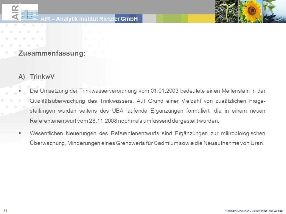 V:/Rietzler/AIR/TrinkwV_Aenderungen_Mai_2009.ppt AIR – Analytik Institut Rietzler GmbH 74 Zusammenfassung: A)TrinkwV Die Umsetzung der Trinkwasservero
