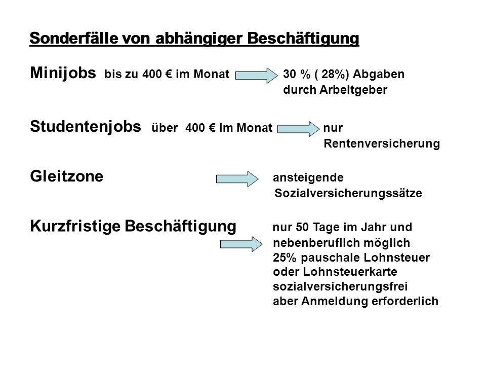 Sonderfälle von abhängiger Beschäftigung Minijobs bis zu 400 im Monat 30 % ( 28%) Abgaben durch Arbeitgeber Studentenjobs über 400 im Monat nur Renten