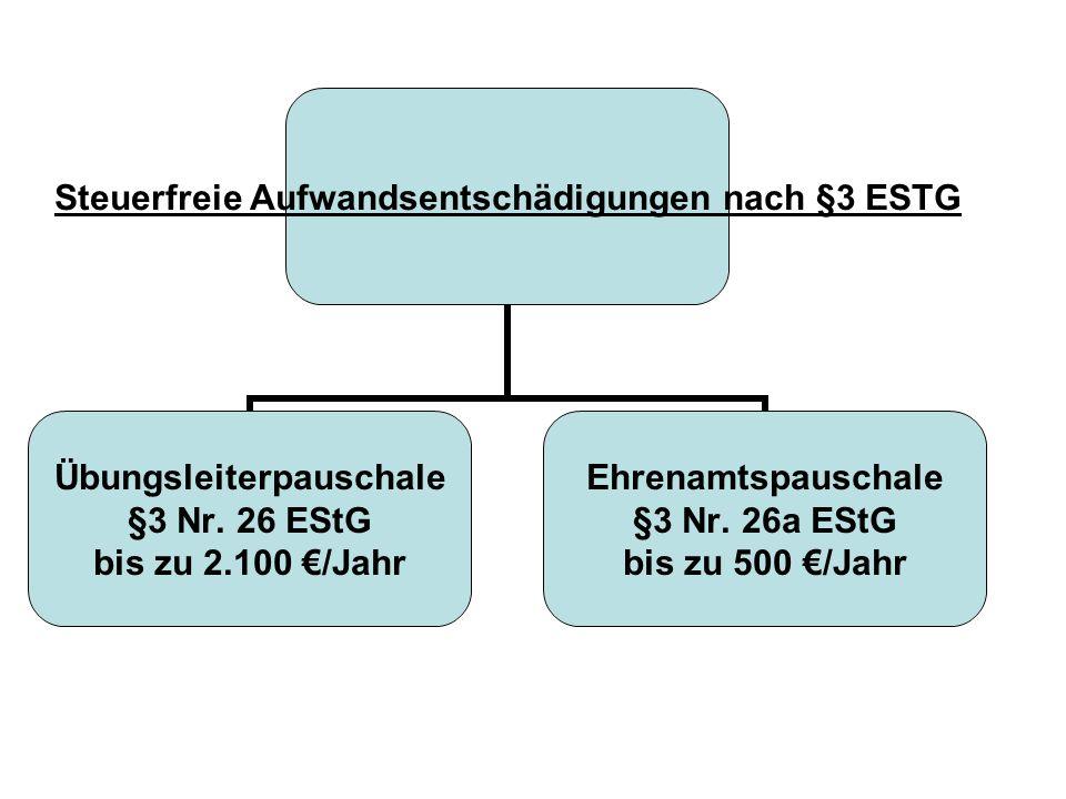 Steuerfreie Aufwandsentschädigungen nach §3 ESTG Übungsleiterpauschale §3 Nr. 26 EStG bis zu 2.100 /Jahr Ehrenamtspauschale §3 Nr. 26a EStG bis zu 500