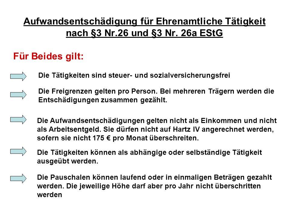 Aufwandsentschädigung für Ehrenamtliche Tätigkeit nach §3 Nr.26 und §3 Nr. 26a EStG Die Tätigkeiten sind steuer- und sozialversicherungsfrei Die Aufwa