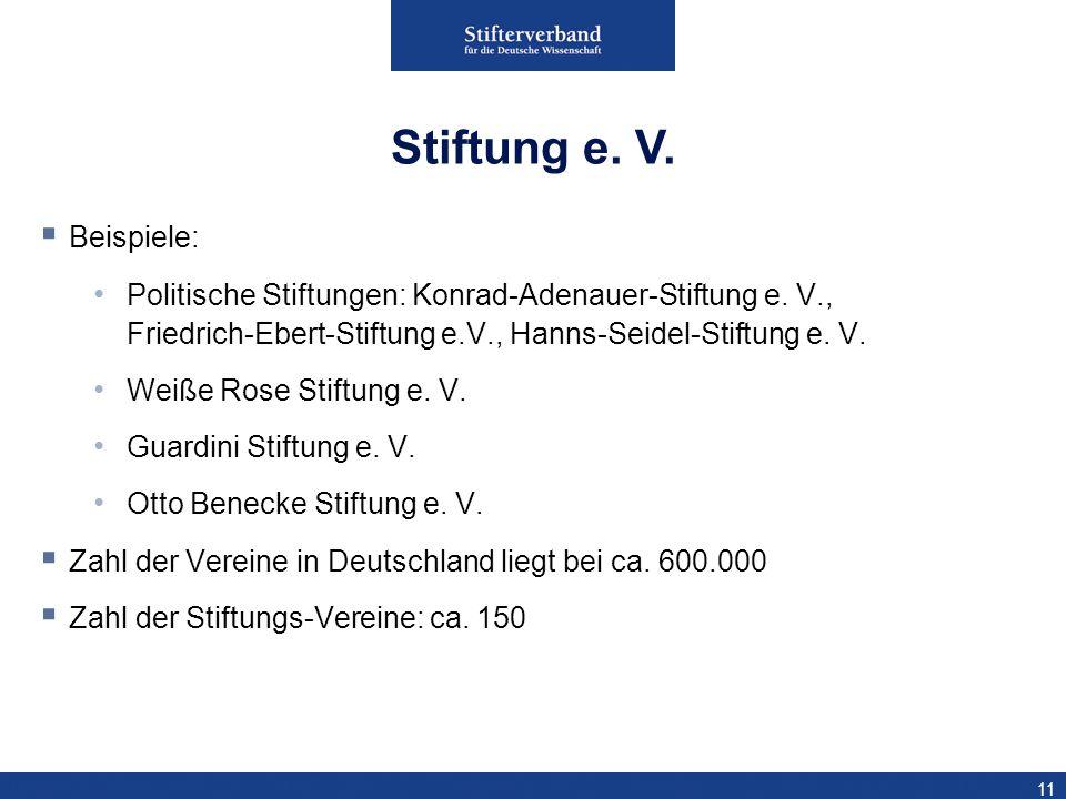 11 Beispiele: Politische Stiftungen: Konrad-Adenauer-Stiftung e. V., Friedrich-Ebert-Stiftung e.V., Hanns-Seidel-Stiftung e. V. Weiße Rose Stiftung e.