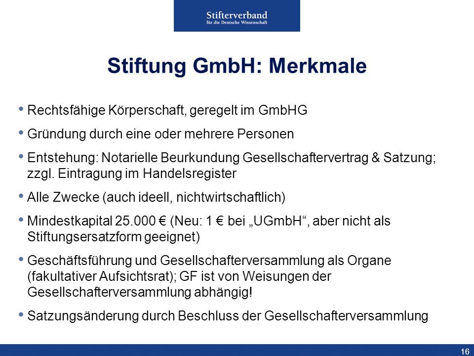 16 Rechtsfähige Körperschaft, geregelt im GmbHG Gründung durch eine oder mehrere Personen Entstehung: Notarielle Beurkundung Gesellschaftervertrag & S