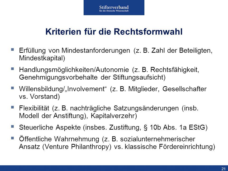 21 Kriterien für die Rechtsformwahl Erfüllung von Mindestanforderungen (z. B. Zahl der Beteiligten, Mindestkapital) Handlungsmöglichkeiten/Autonomie (