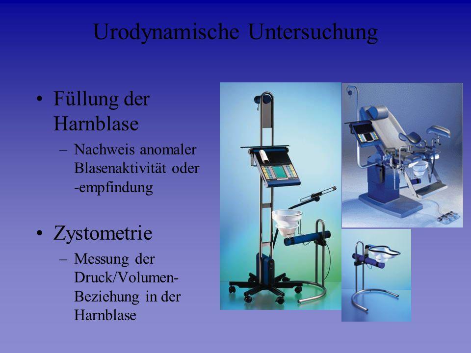 Urodynamische Untersuchung Füllung der Harnblase –Nachweis anomaler Blasenaktivität oder -empfindung Zystometrie –Messung der Druck/Volumen- Beziehung