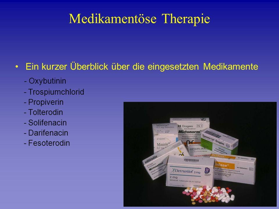 Ein kurzer Überblick über die eingesetzten Medikamente - Oxybutinin - Trospiumchlorid - Propiverin - Tolterodin - Solifenacin - Darifenacin - Fesotero