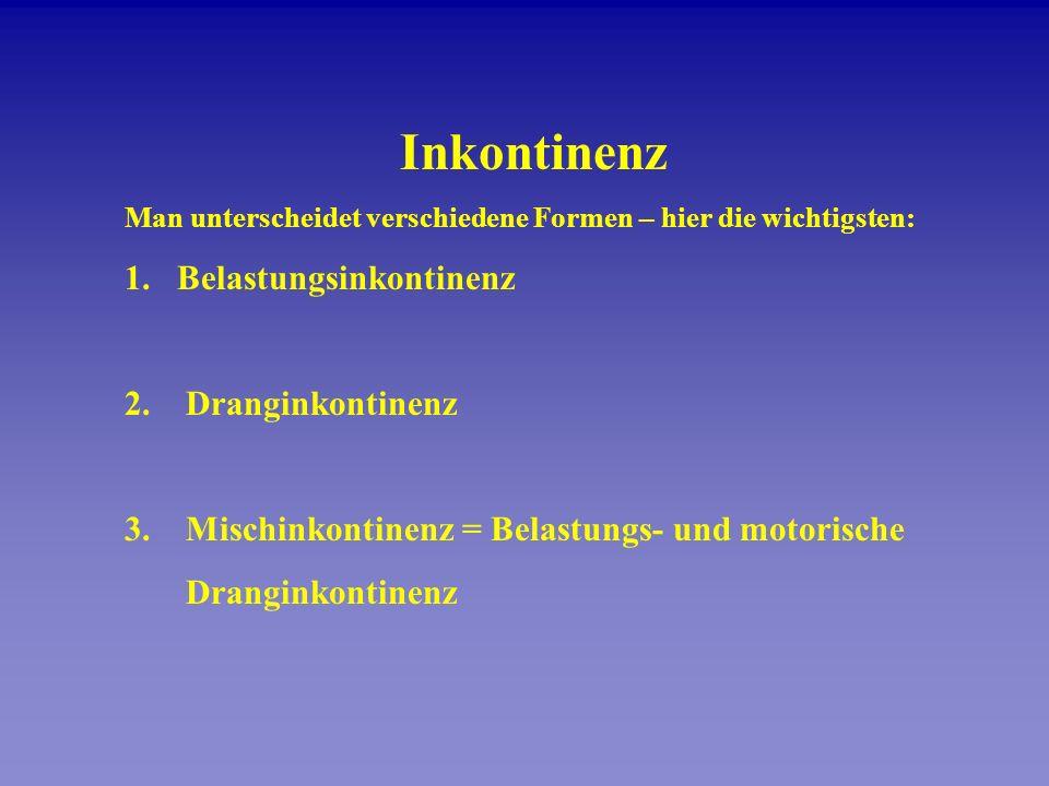 Inkontinenz Man unterscheidet verschiedene Formen – hier die wichtigsten: 1.Belastungsinkontinenz 2. Dranginkontinenz 3. Mischinkontinenz = Belastungs