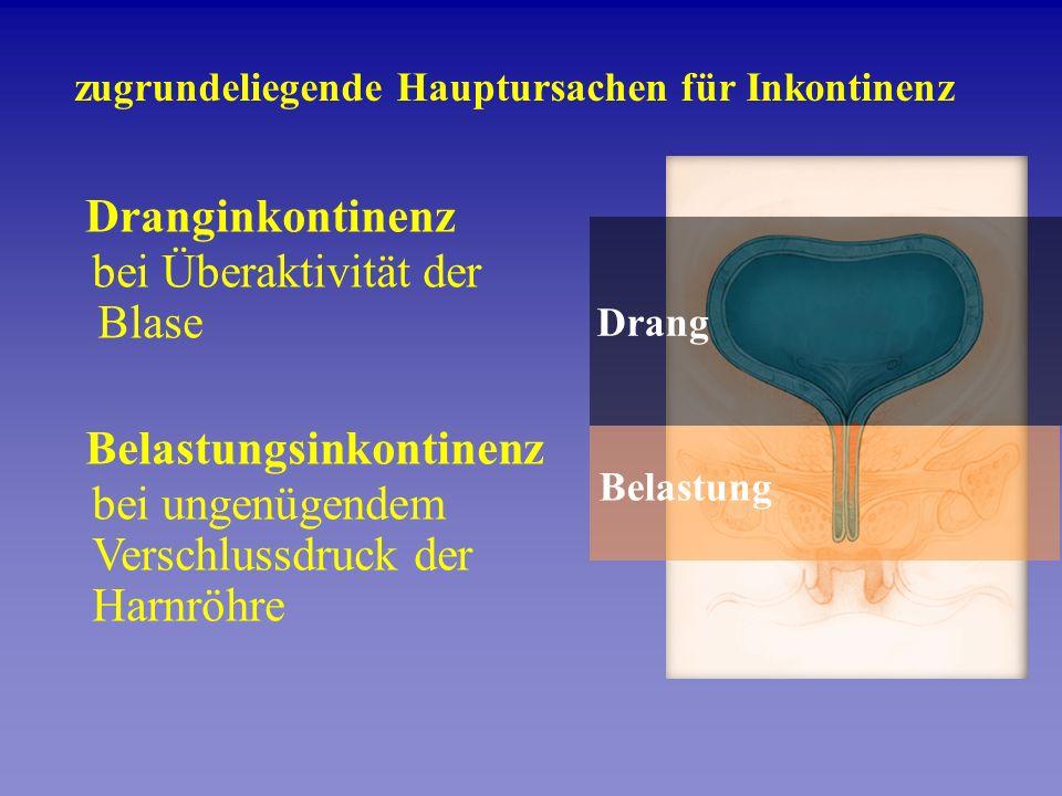 zugrundeliegende Hauptursachen für Inkontinenz Belastung Drang Dranginkontinenz bei Überaktivität der Blase Belastungsinkontinenz bei ungenügendem Ver