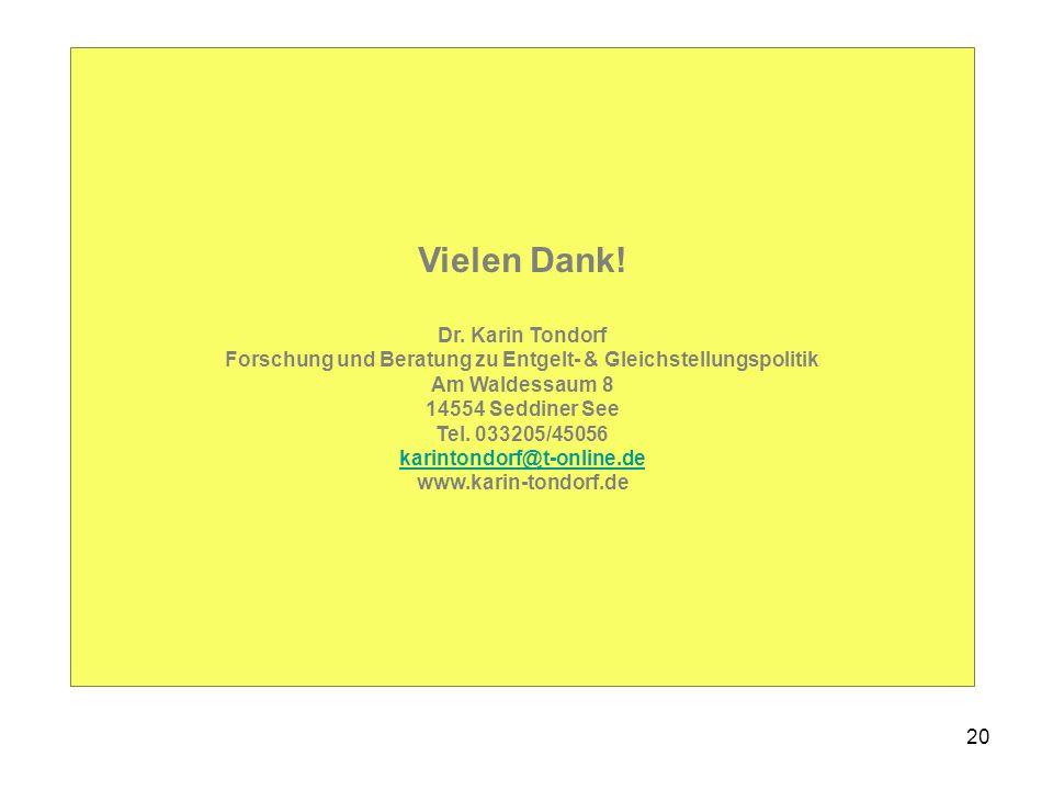 20 Vielen Dank! Dr. Karin Tondorf Forschung und Beratung zu Entgelt- & Gleichstellungspolitik Am Waldessaum 8 14554 Seddiner See Tel. 033205/45056 kar