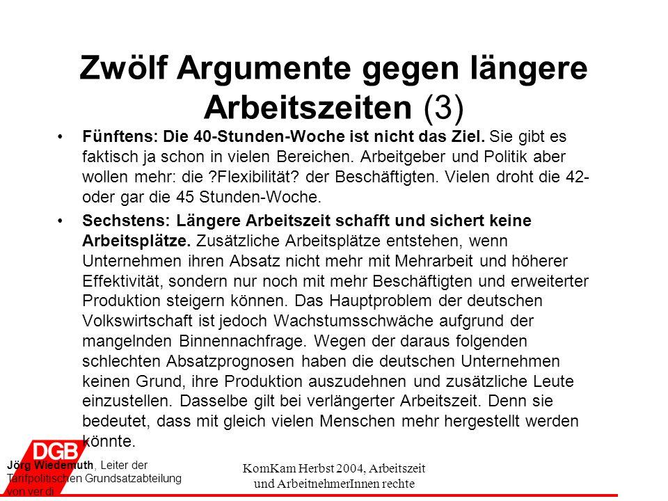 KomKam Herbst 2004, Arbeitszeit und ArbeitnehmerInnen rechte Zwölf Argumente gegen längere Arbeitszeiten (3) Fünftens: Die 40-Stunden-Woche ist nicht das Ziel.