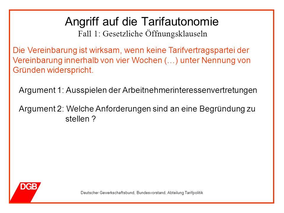 Deutscher Gewerkschaftsbund, Bundesvorstand, Abteilung Tarifpolitik Die Vereinbarung ist wirksam, wenn keine Tarifvertragspartei der Vereinbarung innerhalb von vier Wochen (…) unter Nennung von Gründen widerspricht.