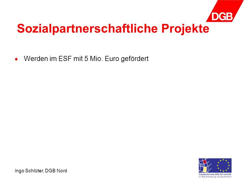 Ingo Schlüter, DGB Nord Sozialpartnerschaftliche Projekte Werden im ESF mit 5 Mio. Euro gefördert