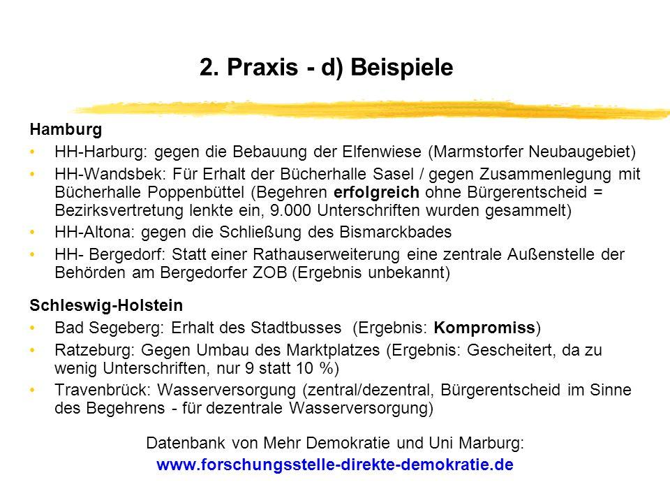 2. Praxis - c) Themenstruktur Themenstruktur von Bürgerbegehren (am Beispiel Schleswig-Holsteins) Öffentliche Infrastruktur- und Versorgungseinrichtun