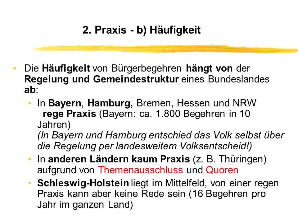 2. Daten zur Praxis - a) Gesamtzahl (Stand: Ende 2005) Deutschland Gemeinden: 3.500 Bürgerbegehren, 1.700 Bürgerentscheide Bundesländer: 172 Anträge,