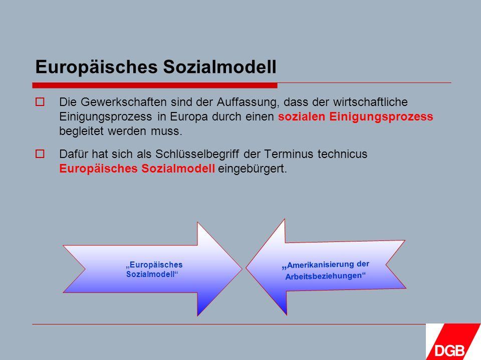 Europäisches Sozialmodell Die Gewerkschaften sind der Auffassung, dass der wirtschaftliche Einigungsprozess in Europa durch einen sozialen Einigungsprozess begleitet werden muss.