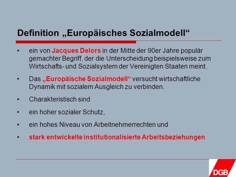 Definition Europäisches Sozialmodell ein von Jacques Delors in der Mitte der 90er Jahre populär gemachter Begriff, der die Unterscheidung beispielsweise zum Wirtschafts- und Sozialsystem der Vereinigten Staaten meint.