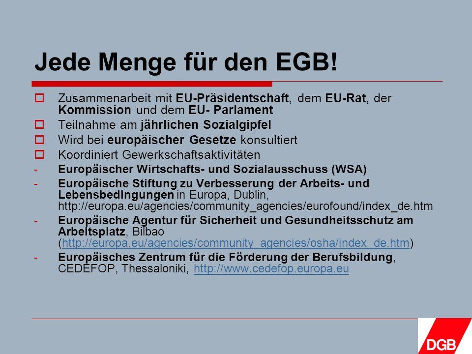 Jede Menge für den EGB.