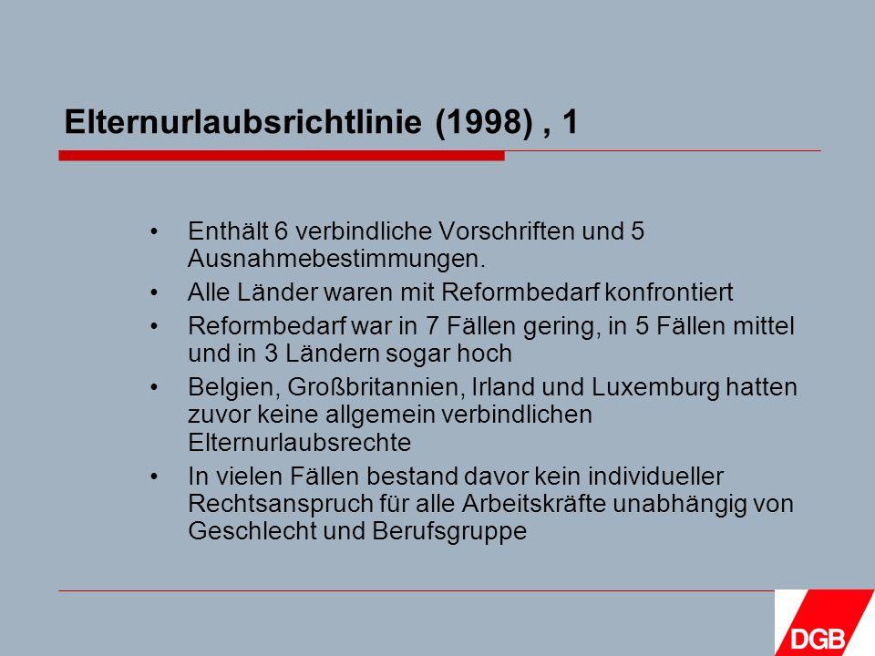 Elternurlaubsrichtlinie (1998), 1 Enthält 6 verbindliche Vorschriften und 5 Ausnahmebestimmungen.