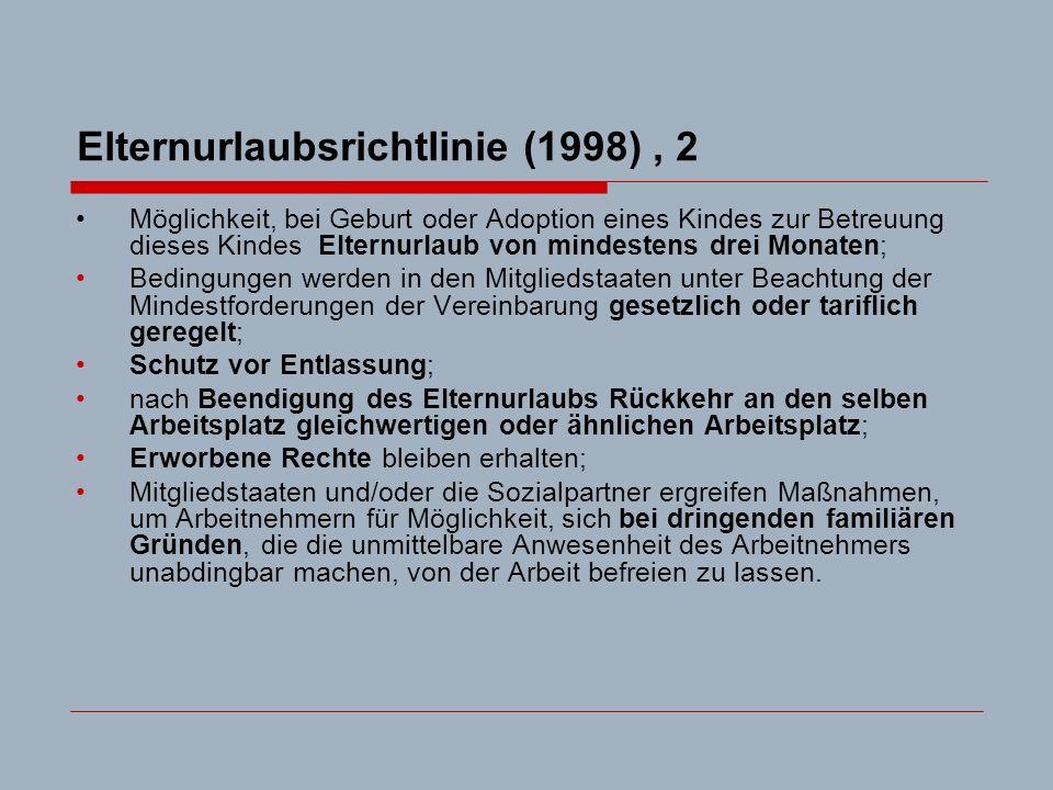 Elternurlaubsrichtlinie (1998), 2 Möglichkeit, bei Geburt oder Adoption eines Kindes zur Betreuung dieses Kindes Elternurlaub von mindestens drei Monaten; Bedingungen werden in den Mitgliedstaaten unter Beachtung der Mindestforderungen der Vereinbarung gesetzlich oder tariflich geregelt; Schutz vor Entlassung; nach Beendigung des Elternurlaubs Rückkehr an den selben Arbeitsplatz gleichwertigen oder ähnlichen Arbeitsplatz; Erworbene Rechte bleiben erhalten; Mitgliedstaaten und/oder die Sozialpartner ergreifen Maßnahmen, um Arbeitnehmern für Möglichkeit, sich bei dringenden familiären Gründen, die die unmittelbare Anwesenheit des Arbeitnehmers unabdingbar machen, von der Arbeit befreien zu lassen.