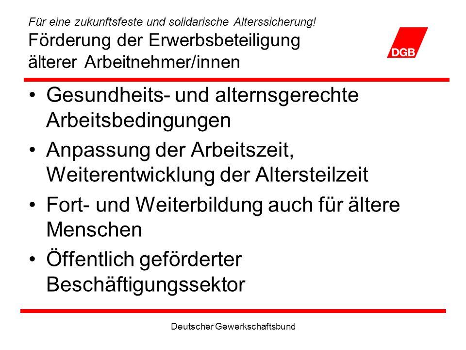 Deutscher Gewerkschaftsbund Für eine zukunftsfeste und solidarische Alterssicherung.
