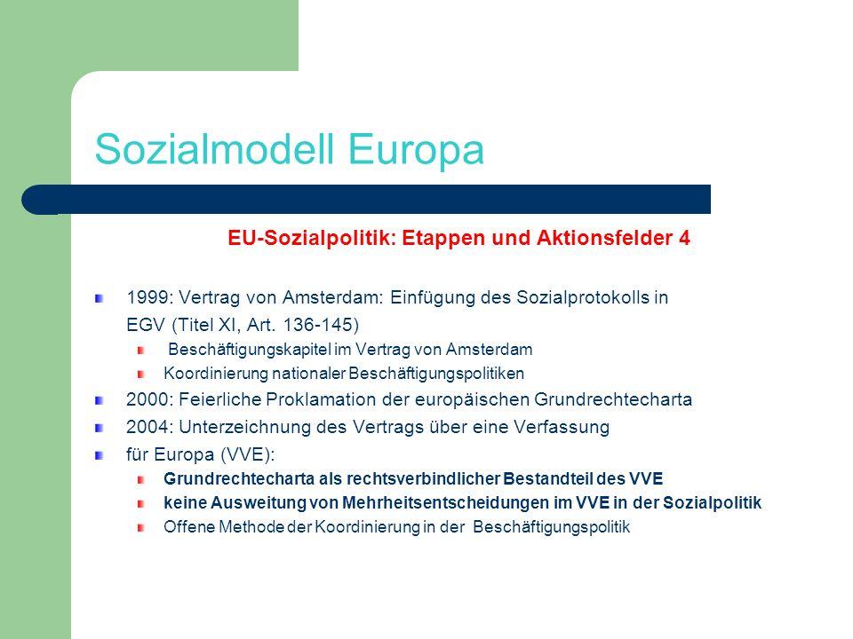 Sozialmodell Europa EU-Sozialpolitik: Etappen und Aktionsfelder 4 1999: Vertrag von Amsterdam: Einfügung des Sozialprotokolls in EGV (Titel XI, Art. 1