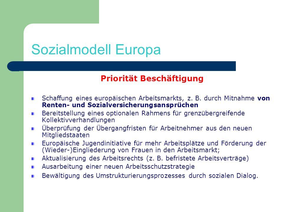 Sozialmodell Europa Priorität Beschäftigung Schaffung eines europäischen Arbeitsmarkts, z. B. durch Mitnahme von Renten- und Sozialversicherungsansprü