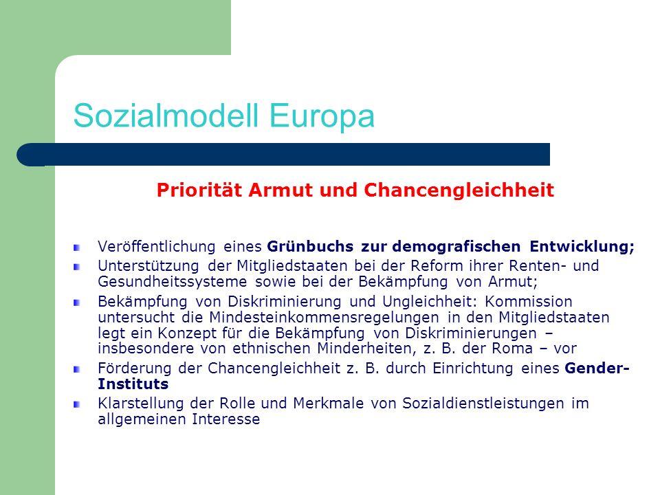 Sozialmodell Europa Priorität Armut und Chancengleichheit Veröffentlichung eines Grünbuchs zur demografischen Entwicklung; Unterstützung der Mitglieds