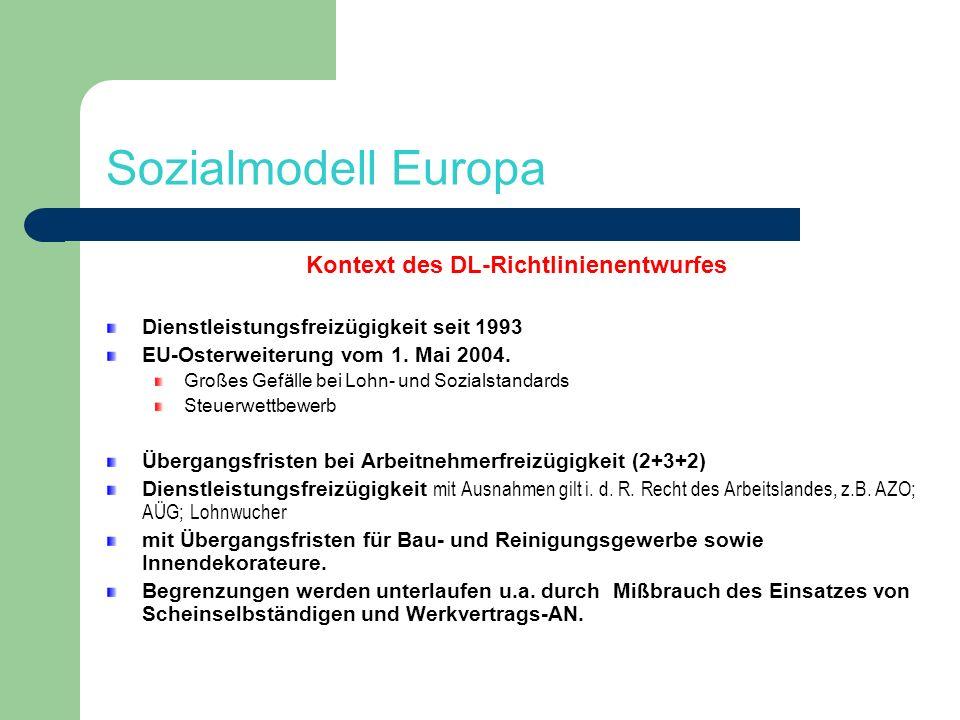 Sozialmodell Europa Kontext des DL-Richtlinienentwurfes Dienstleistungsfreizügigkeit seit 1993 EU-Osterweiterung vom 1. Mai 2004. Großes Gefälle bei L