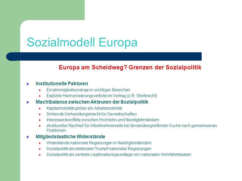 Sozialmodell Europa Europa am Scheidweg? Grenzen der Sozialpolitik Institutionelle Faktoren Einstimmigkeitszwänge in wichtigen Bereichen Explizite Har