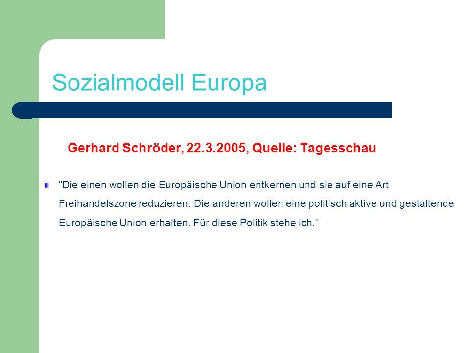 Sozialmodell Europa Gerhard Schröder, 22.3.2005, Quelle: Tagesschau
